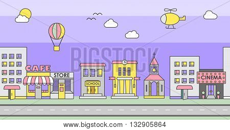 Seamless pattern of the buildings. Background for game. Cafe cinema store church apartment housecottageschool Hall factory