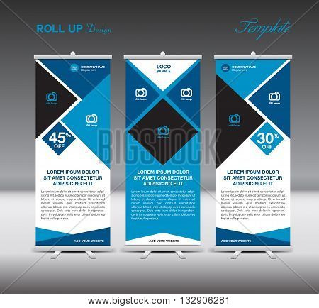 Blue Roll Up Banner template display advertisement design vector illustration