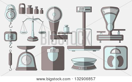 Set of scales. Weight scales for trade pharmacy shopping measurement and other. Isolated vector illustration