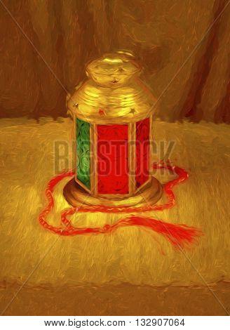 Artistic Islamic festive background. Ramadan lamp artistic image.