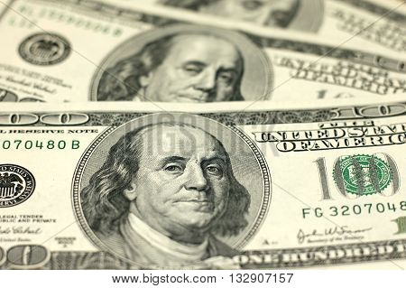One Hundred Dollar Bills Close up, portrait of Franklin