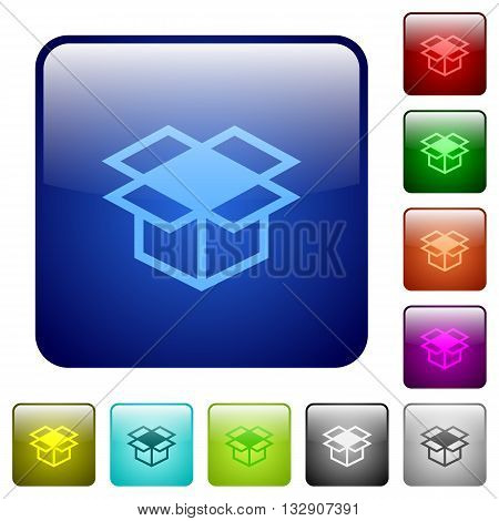 Set of open box color glass rounded square buttons
