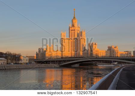 Moscow high-rise building on Konelnicheskaya Embankment on a sunset Russia