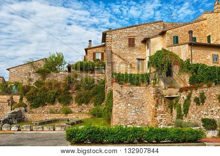 Streets of the ancient city of Spello Umbria Italy