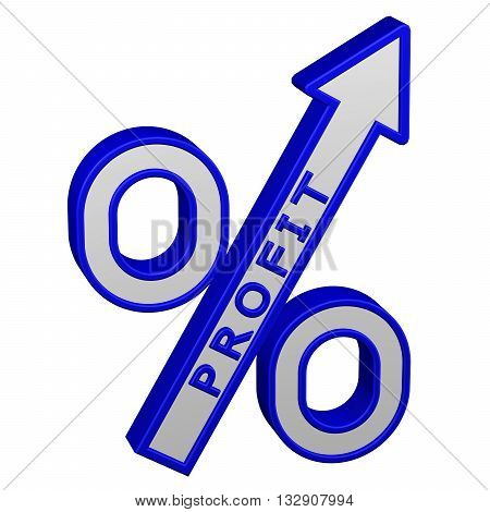 Concept: percent growth. Percent sign with arrow with profit isolated on white background. 3D rendering.