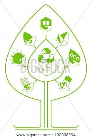 Set Of Environmenta Icons As Tree