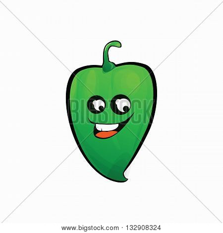 Green pepper with cartoon face on a white background .Icon green pepper .