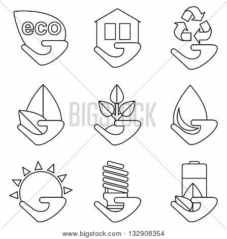 Set Of Lines Ecology Icons