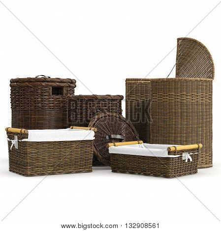 Set rattan basket on white background. 3D graphic