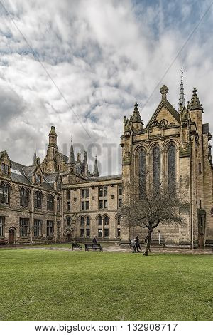 GLASGOW SCOTLAND - APRIL 03 2016: University of Glasgow Memorial Chapel in Scotland