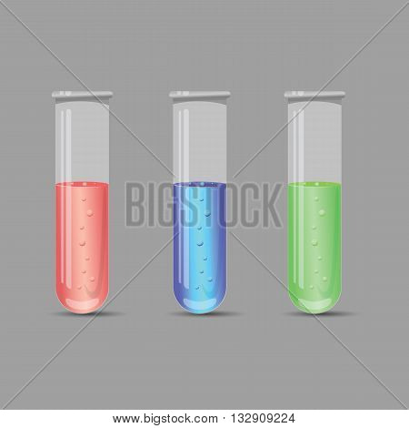 Icon chemical tubes.Three tubes with chemicals green red and blue liquid .