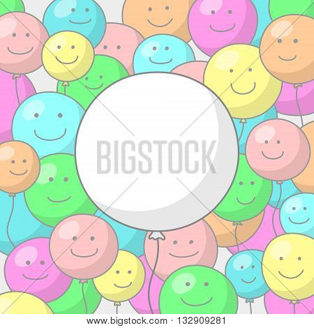 Festive background with multicolored balloons with smiling faces and big white balloon in the center, with place for congratulatory text inside
