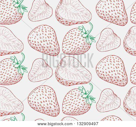 Ripe Juicy Red Strawberries And Leaves, Pattern