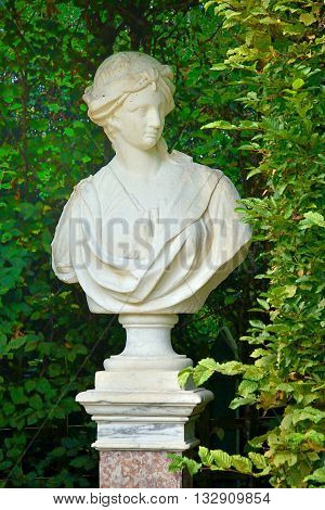 Versailles France - august 19 2015 : statue in the Grand Trianon park in the Marie Antoinette estate in the park of Versailles Palace