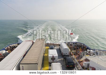 DUNKIRK FRANCE - OCTOBER 18 2015: Ferry boat crossing the north sea channel from Dunkirk to Dover