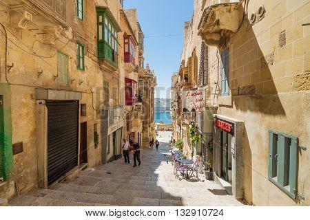 Valletta Malta - May 05 2016: From the streets and alleys of Valletta Malta