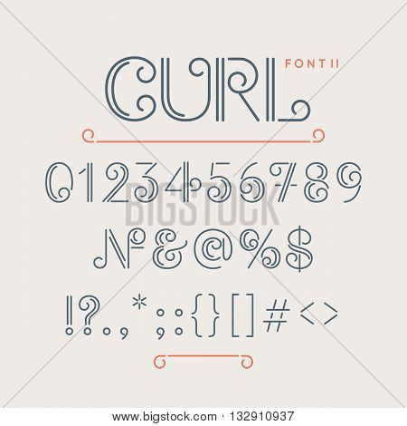 Numbers and extra characters for a font question mark exclamation point ampersand. Vintage alphabet font. Fashionable modern type Curl. The letters of the Latin alphabet. Vector symbols.