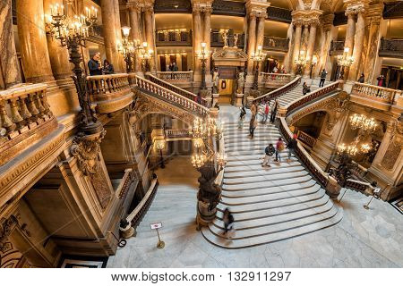 Paris, France - May 3, 2016: People Taking Pictures At Opera Paris