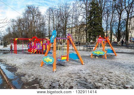 Russia, Yaroslavl-March 28.2016. Children's playground at the Pervomaisky Boulevard