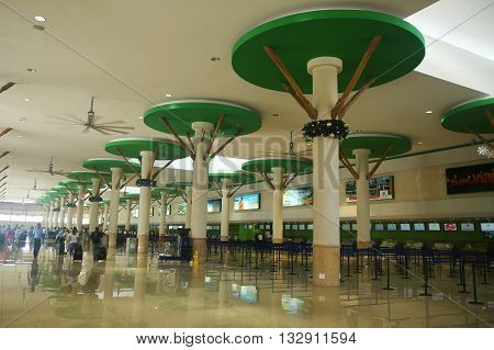 PUNTA CANA, DOMINICAN REPUBLIC -JANUARY 4, 2016: Terminal B in Punta Cana International Airport. The Dominican Republic is the most visited destination in the Caribbean