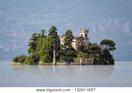 Little island Isola di Loreto on Iseo Lake Italy