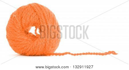 Roll of yarn, braided skein, isolated on white background