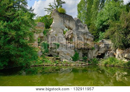 Versailles France - august 19 2015 : the rock in the Marie Antoinette estate in the park of Versailles Palace