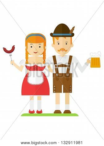 Bavarian Couple With Beer And Sausages