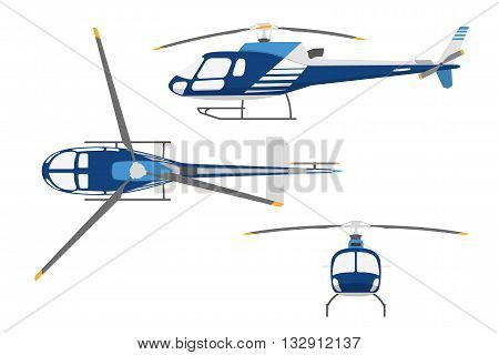 Drawing a helicopter in a flat style. Top view side view front view. Vector illustration