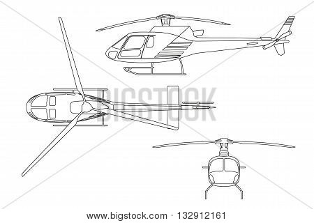 Outline drawing of helicopter on white background. Top view side view front view. Vector illustration
