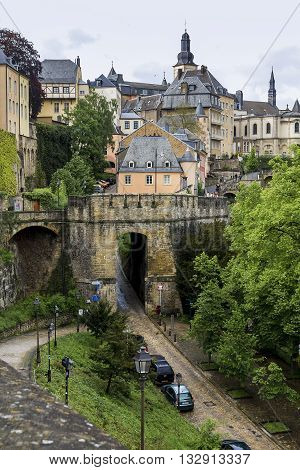 LUXEMBOURG, LUXEMBOURG - MAY 15, 2013: This is view the old city walls in the old part of the town.