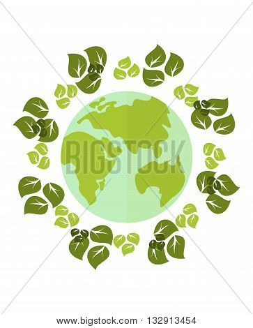 Planet In Wreath Of Leaves