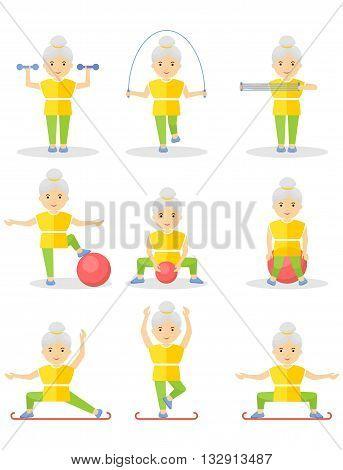 Set Of Elder Women Sport Exercise