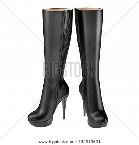 Exclusive women's boots black leather high-heeled. 3D graphic