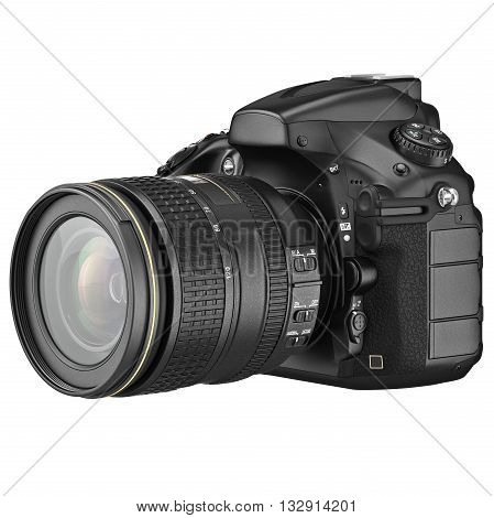 Digital SLR photo camera professional. 3D graphic