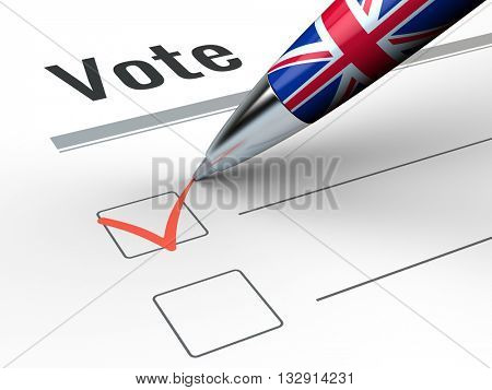 Brexit - Pen With Great Britain flag and vote checkbox. 3d render