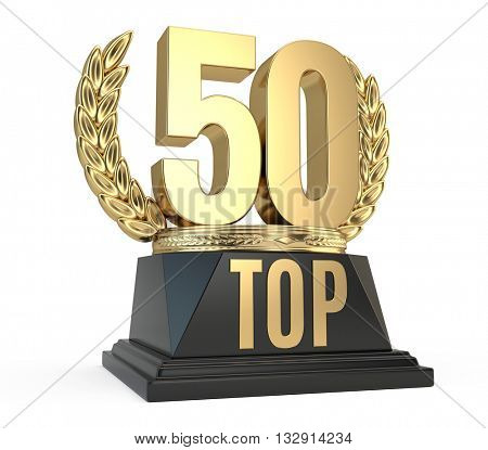 Top 50 fifty award cup symbol isolated on white background. 3d render