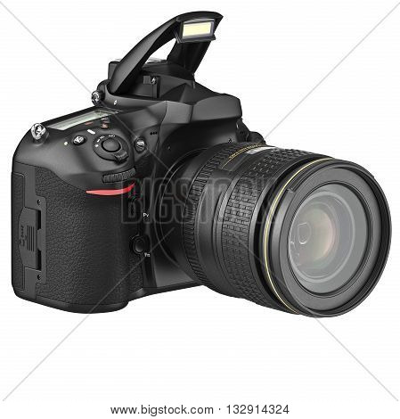 Digital SLR photo camera, open flash. 3D graphic