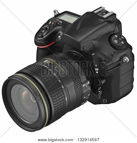 Digital SLR photo camera with professional optics. 3D graphic