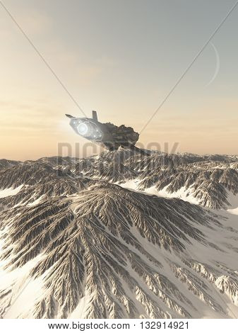 Science fiction illustration of an interplanetary spaceship in the atmosphere flying low over the snow covered winter mountains of an alien planet, 3d digitally rendered illustration (3d rendering, 3d illustration