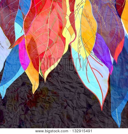 Watercolor bright abstract background of colorful autumn leaves