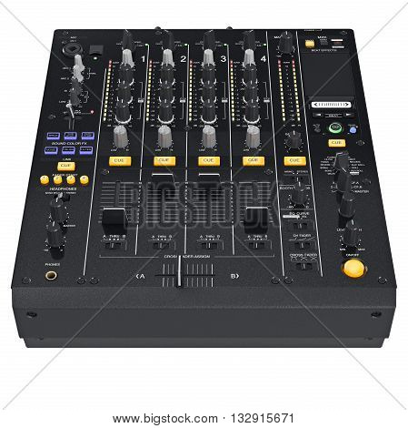 Dj audio devices equipment to create view of tracks on front table control panel. 3D graphic