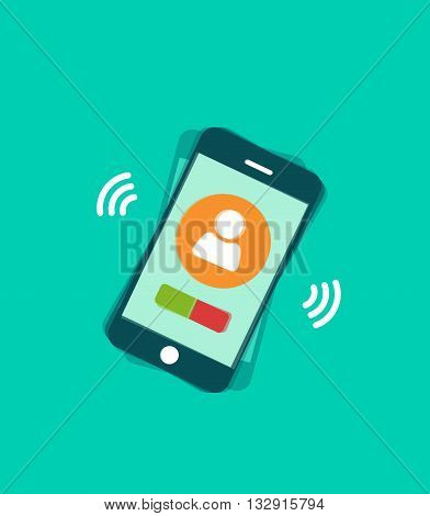 Mobile phone ringing vector illustration with signal waves and vibration, phone calling with touchscreen display elements, phone call modern trendy design isolated on green