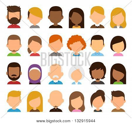 Diverse people avatar set. Different skin color hair and clothes blank faces. Stylized geometric flat cartoon style.