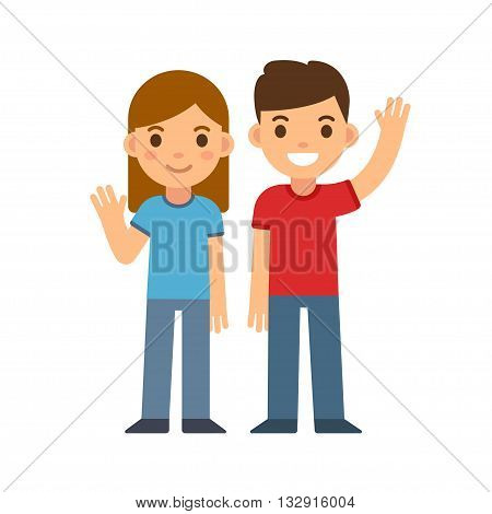 Cute cartoon children smiling and waving boy and girl. Brother and sister or two friends. Happy kids vector illustration.
