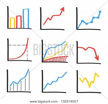 Set of abstract hand drawn whiteboard marker charts. Business graphs, bar charts, statistics illustration.
