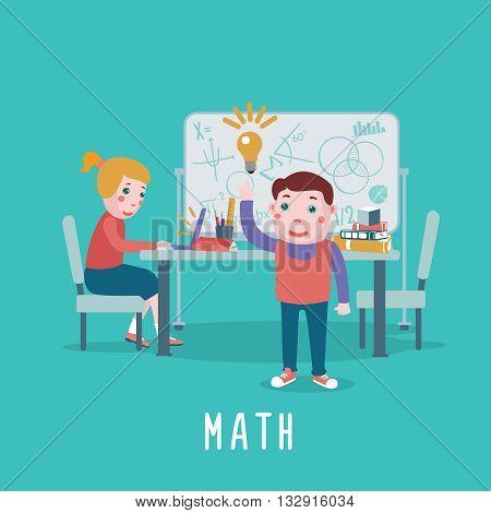 Math class. Kids are studing algebra in a classroom.