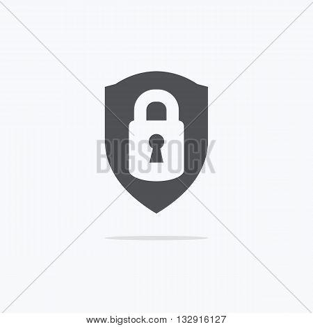 Lock Icon. Lock icon flat. Lock on the shield. Vector illustration.