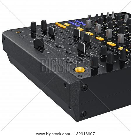 Buttons control panel parameters of sound digital dj mixer, close view. 3D graphic