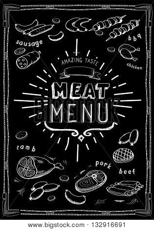 Retro meat menu icons on chalkboard with lamb chops sausage wieners pork ham vector